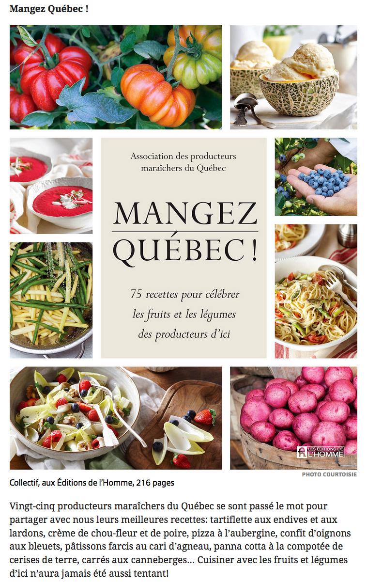 Livre mangez qu bec 75 recettes pour c l brer les for Articles de cuisine quebec